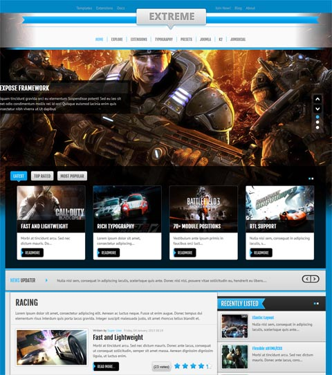 Games Template Joomla Gaming Joomla 2.5 Template