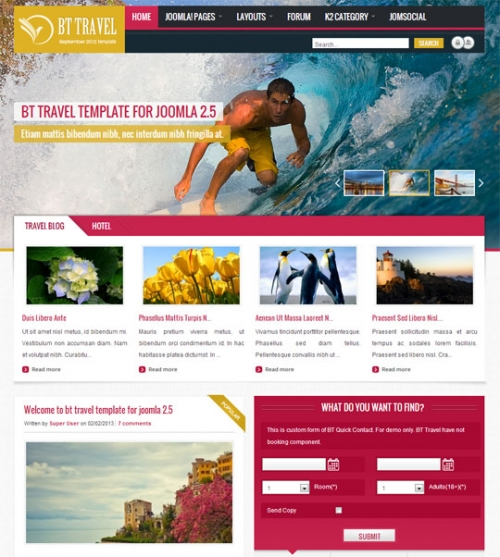 Download Template Bow Themes Travel untuk Joomla